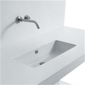 WS Bath Collections Seed 20.90-in x 13.40-in White Ceramic Rectangular Undermount Bathroom Sink