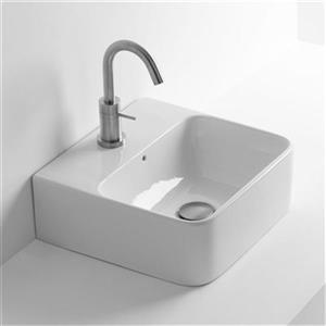 WS Bath Collections Seed 17.70-in x 17.70-in White Ceramic Square Wall Mounted Vessel Bathroom Sink