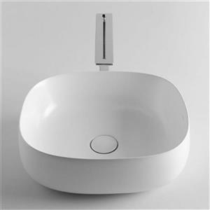 WS Bath Collections Seed 17.70-in x 15.70-in White Ceramic Square Vessel Bathroom Sink