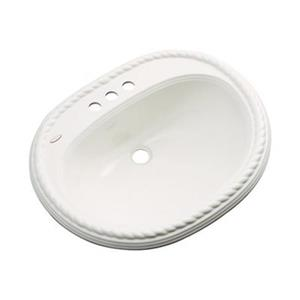 Dekor Master Collection Manitou 23-in x 19-in 4-in Centerset Biscuit Oval Bath Lavatory Sink