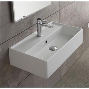 Nameeks Teorema 31.50-in x 13.39-in White Ceramic Rectangular Wall Mount Sink