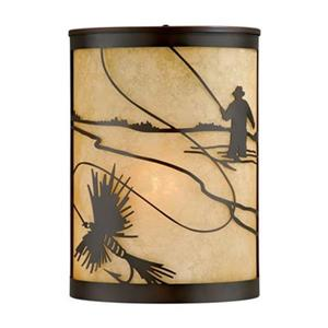 Cascadia Mayfly 8-in Dusk to Dawn Bronze Rustic Fish Wall Light