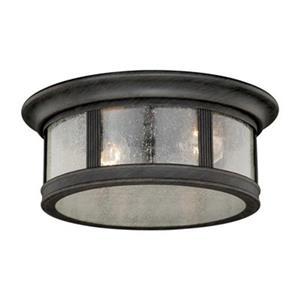 Cascadia Hanover 12-in 2-Light Bronze Round Outdoor Flush Mount Ceiling Light