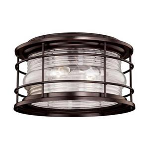 Cascadia Hyannis 12-5/8-in Bronze Coastal Outdoor Flush Mount Ceiling Light