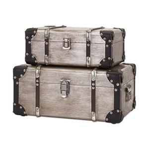 IMAX Worldwide 65399-2 Baker Aluminum Clad Suitcases (Set of