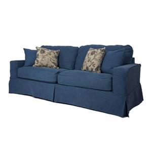 Sunset Trading Americana Blue Slipcover for Box Cushion, Track Arm Sofa