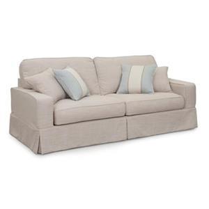 Sunset Trading Americana Tan Linen Slipcover for Box Cushion, Track Arm Sofa