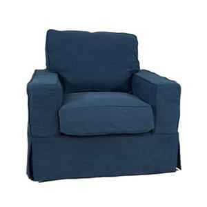 Sunset Trading Americana Blue Slipcover for Box Cushion, Track Arm Chair