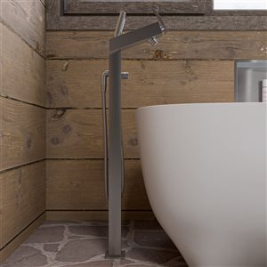 ALFI Brand 38.50-in Brushed Nickel Floor Mounted Tub Filler with  Hand Shower