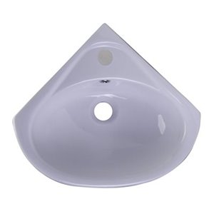 ALFI Brand 20.00-in x 18.50-in White Porcelain Quater-Circle Corner Wall Mounted Sink