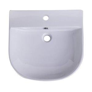ALFI Brand 19.75-in x 13.75-in White Porcelain Semi-Circle Wall Mounted Sink