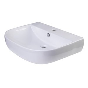 ALFI Brand 23.62-in x 13.75-in White Porcelain Semi-Circle Wall Mounted Sink