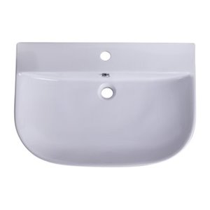 ALFI Brand 27.50-in x 13.75-in White Porcelain Semi-Circle Wall Mounted Sink