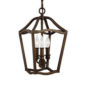 Feiss Yarmouth Collection 8.62-in x 15.37-in Brown Cage 3-Light Pendant Light