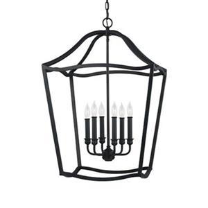 Feiss Yarmouth Collection 20.25-in x 30.38-in Brown Cage 6-Light Pendant Light