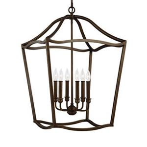 Feiss Yarmouth Collection 20.25-in x 30.37-in Brown Cage 6-Light Pendant Light