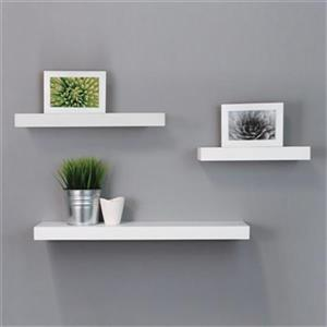 Nexxt Designs Maine White Wall Shelves (Set of 3)