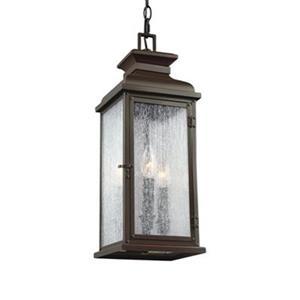 Feiss Pediment Collection 7-in x 20.5-in Dark Weathered Zinc Lantern 2-Light Pendant Light
