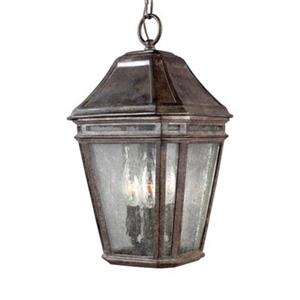 Feiss Londontowne Collection 8.25-in x 15-in Weathered Chestnut Lantern 3-Light Pendant Light