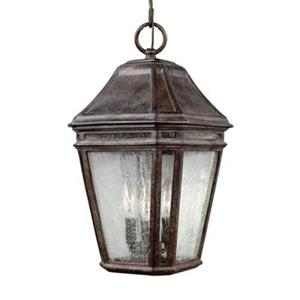 Feiss Londontowne Collection 9.75-in x 17.25-in Weathered Chestnut Lantern 3-Light Pendant Light