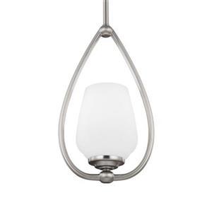Feiss Vintner Collection 7.12-in x 12.62-in Satin Nickel Teardrop Mini Pendant Light