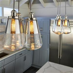 Feiss Waveform Collection 7.38-in x 14.5-in Brass Bell Mini Pendant Light