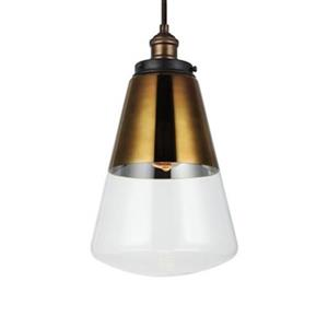 Feiss Waveform Collection 9.75-in x 17-in Brass Bell Mini Pendant Light