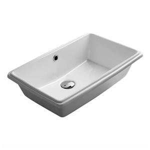 WS Bath Collections City 21.30-in x 13.80-in White Ceramic Rectangular Undermount Sink