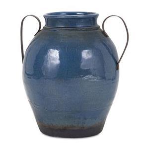 IMAX Worldwide Harrisburg 18.5-in Blue Vase with Metal Handle