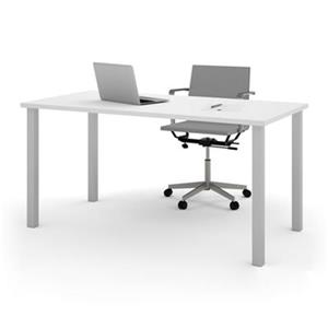 Bestar 29-in x 59.30-in White Square Metal Leg Table