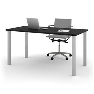 Bestar 29-in x 59.30-in Black Square Metal Leg Table