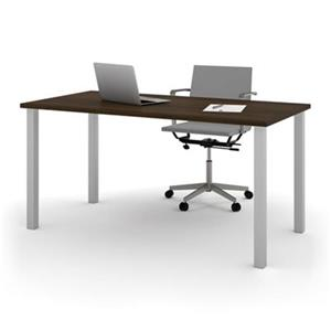 Bestar 29-in x 59.30-in Dark Brown Square Metal Leg Table