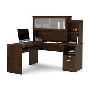 Bestar Dayton 62.80-in x 62.60-in Dark Brown L-Shaped Desk