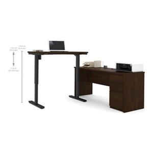 Bestar Prestige 30.40-in x 71.10-in Chocolate Brown L-Desk and Electric Height Adjustable Table Set
