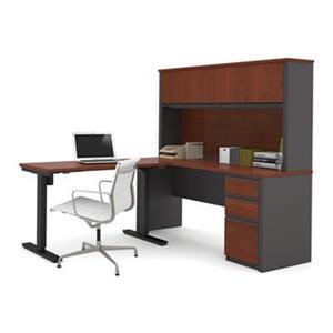 Bestar Prestige 66.90-in x 71.10-in Dark Grey L-Desk and Electric Height Adjustable Table Set
