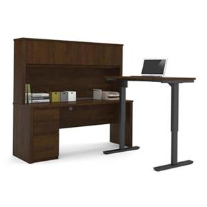 Bestar Prestige 66.90-in x 71.10-in Chocolate Brown L-Desk and Electric Height Adjustable Table Set