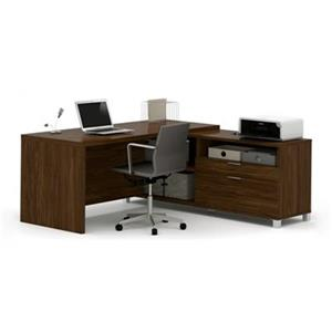 Bestar Pro-Linea 29.90-in x 71.10-in Dark Brown Return Table 2 Drawer Credenza L-Desk