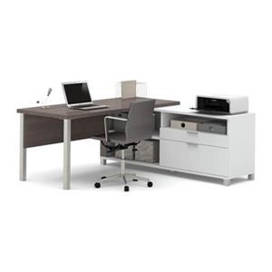 Pro-Linea Metal Leg Return Table/2 Drawer Credenza L-Desk