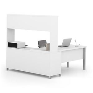 Bestar Pro-Linea 68.75-in x 71.10-in White Metal Leg Return Table with Open Credenza
