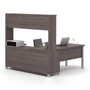 Bestar Pro-Linea 68.75-in x 71.10-in Bark Grey Metal Leg Return Table with Open Credenza