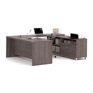 Bestar Pro-Linea Executive 29.90-in x 71.10-in Bark Grey 2 Drawer Credenza U-Desk Set