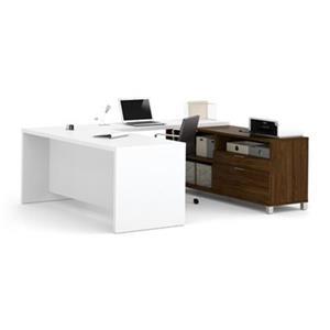 Bestar Pro-Linea Executive 29.90-in x 71.10-in White and Oak Barrel 2 Drawer Credenza U-Desk Set