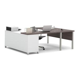 Bestar Pro-Linea 29.90-in x 71.10-in Bark Grey and White Metal Leg Table Table Credenza U-Desk Set