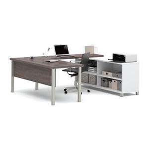 Pro-Linea Metal Leg Table/Credenza U-Desk Set