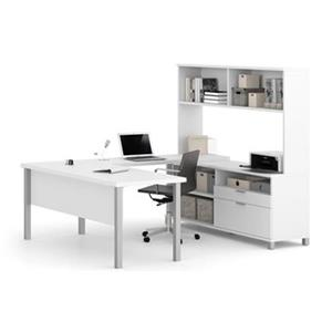 Bestar Pro-Linea 68.75-in x 71.10-in White Metal Leg Table 2 Drawer Credenza