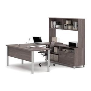 Pro-Linea Metal Leg Table/2 Drawer Credenza U-Desk & Hutch Set