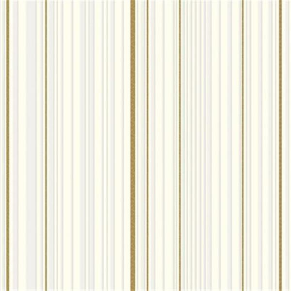 Graham Brown Illusions 56 Sq Ft Whitegold Maestro Stripe Unpasted Wallpaper