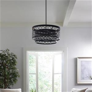 Feiss Arramore Collection 24-in x 12.5-in Dark Weathered Zinc Drum 2-Light LED Pendant Light