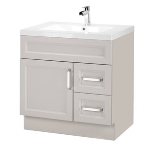 Cutler Kitchen & Bath Urban 30-in White Single Bowl 2-in Top Free Standing Bathroom Vanity