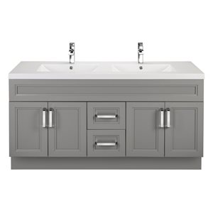 Cutler Kitchen & Bath Urban 60-in Day Break Grey Double Bowl 2-in Top Free Standing Bathroom Vanity